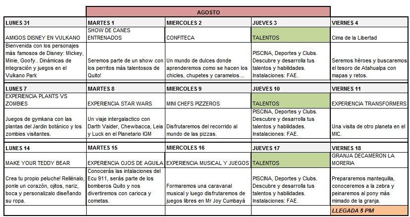 cursos vacacionales para niños